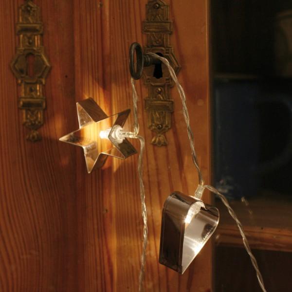 LED-Minilichterkette, GINGERBREAD, L 135cm, silberne Backförmchen, 10 warmweiße LEDs, batteriebetrie