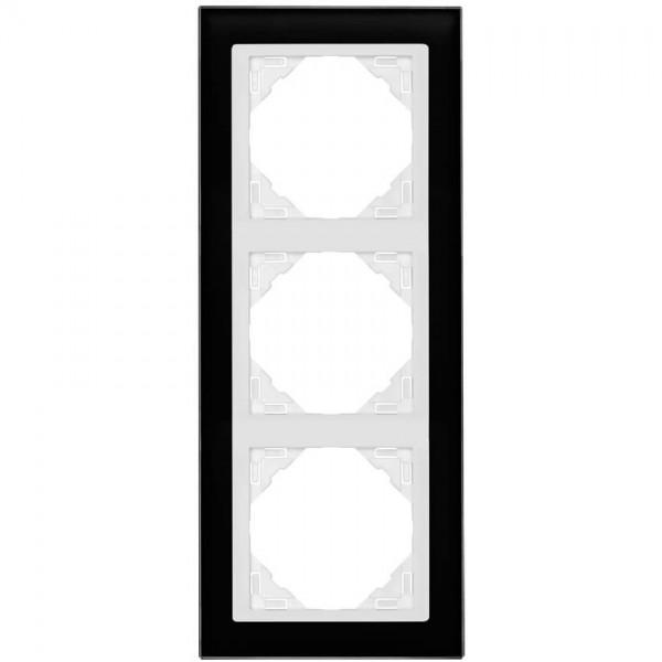 EFAPEL® - 3-fach Glas-Abdeckrahmen, LOGUS 90, Glas, schwarz, Kunststoff signalweiß