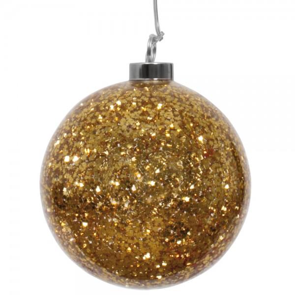 Glaskugel, Gold, Ø 12cm, warmweiße LEDs