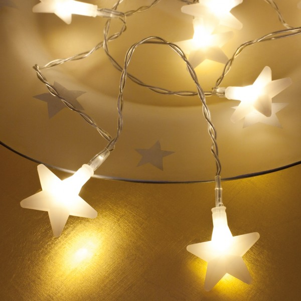 LED-Minilichterkette, weiße Sterne, 10 warmweiße LEDs, batteriebetrieben