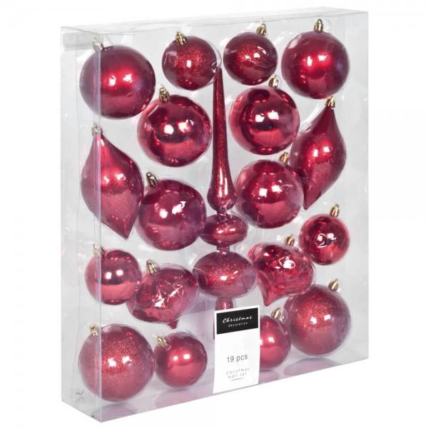 Weihnachtsbaumkugeln, rot, 19er-Set