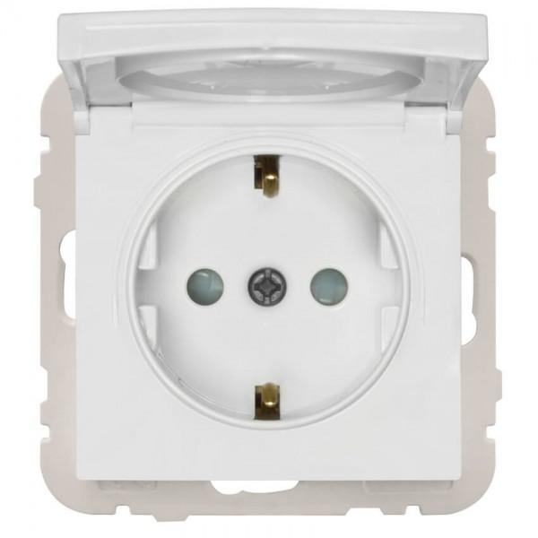 EFAPEL® - Kombi-Steckdose, mit Klappdeckel, LOGUS 90, signalweiß