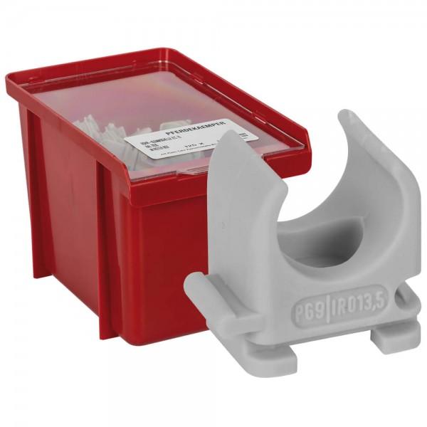 Reihen-Klemmschelle, für Kunststoffpanzerrohre, halogenfrei, in stapelbarer Sichtbox-M 20