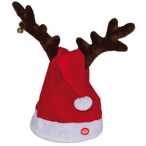 wedelnde Weihnachtsmütze mit Musik, H 40cm, Ø 20cm