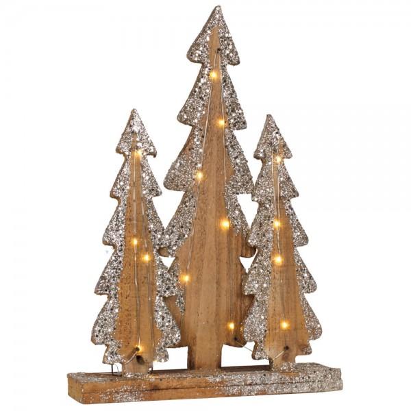 Weihnachtsleuchter H 40cm, Tannenbäume, 15 warmweiße LEDs