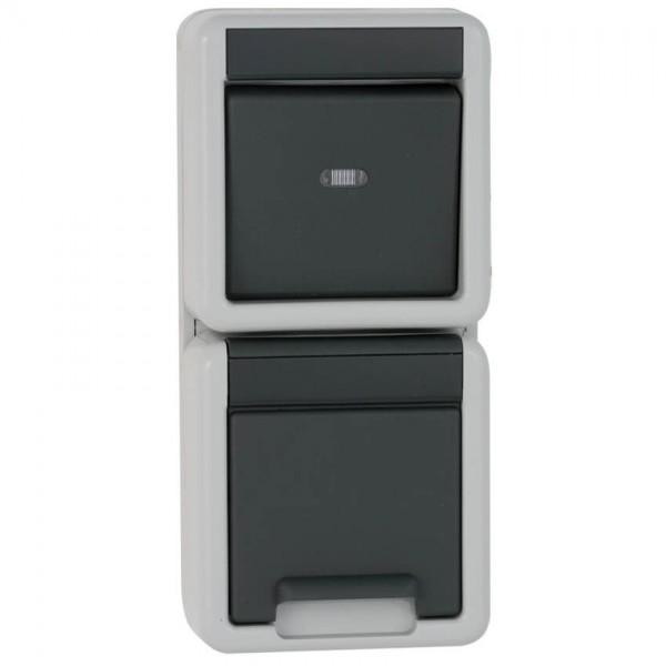 GIRA® - Kombination, Aus/Wechsel-Schalter & Steckdose, AP/FR, grau/dunkelgrau-017630