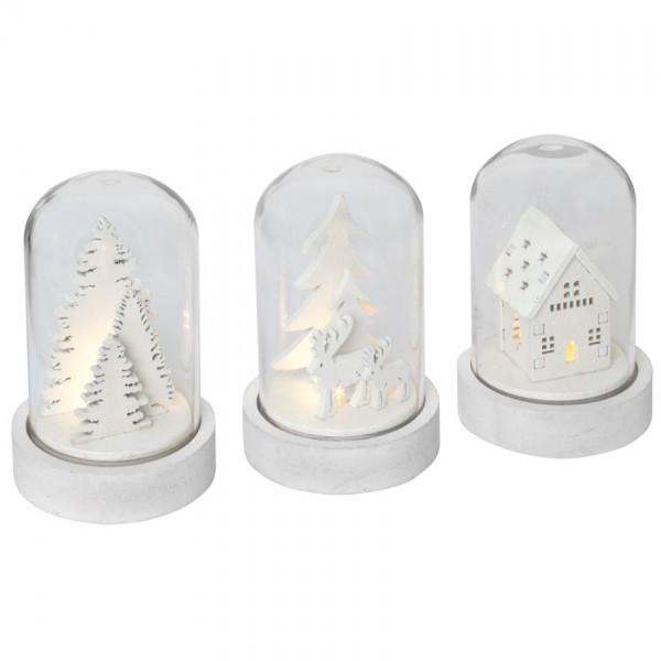 Glaskuppel, KUPOL, weiß, 3er-Set, je 1 warmweiße LED