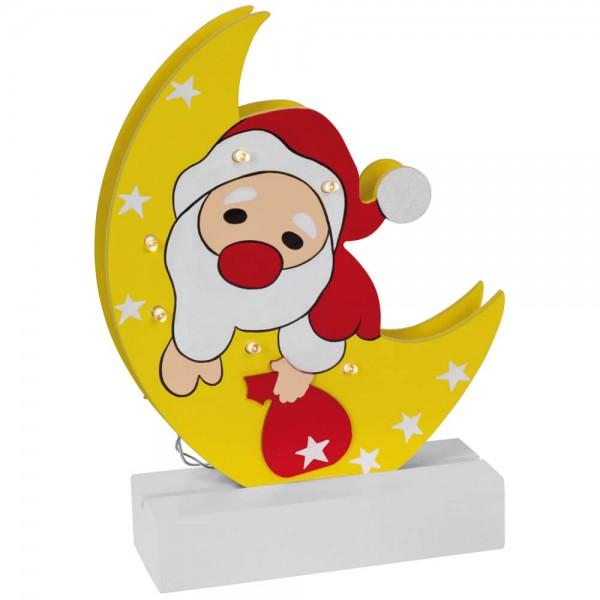 Weihnachtsleuchter, FREDDY, Weihnachtsmann Mond, 6 warmweiße LEDs