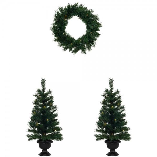 Weihnachtsbäume und Kranz Set, 2 Weihnachtsbäumchen, 1 Türkranz