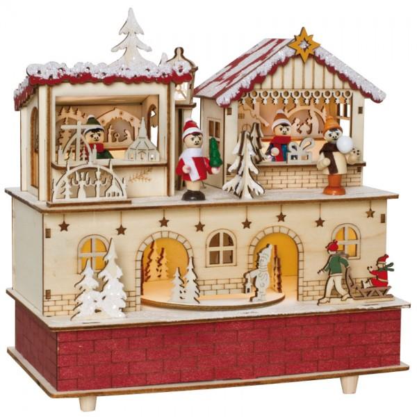 Spieluhr, Weihnachtsmarkt, 10 warmweiße LEDs