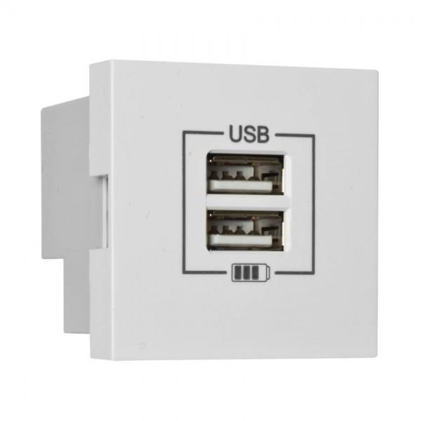 EFAPEL® - Modul-Einsatz, USB-Ladegerät, 2 x USB-Ausgang 5V/2,1A, Modul 45 x 45