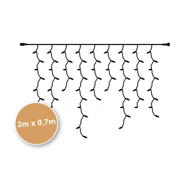 WINGLINKS - LED-Vorhang, L 2 m, 100 LEDs/7W, 2700K, schwarz