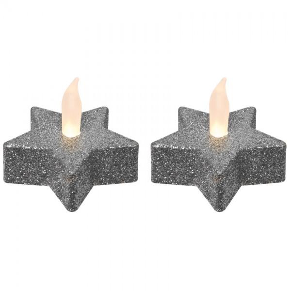 2 LED-Teelichter, je 1 warmweiße LED, silber, H 4,5cm, Ø 5,5cm, batteriebetrieben