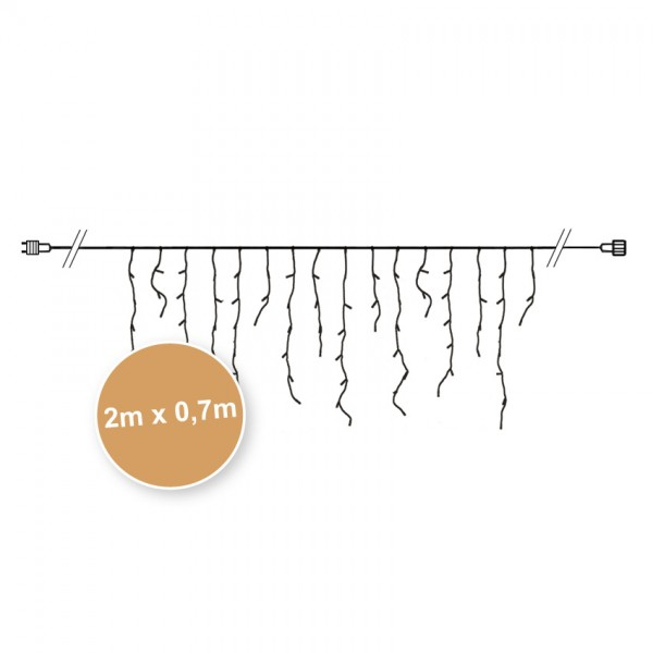 Minilichter-Vorhang, B 200cm, H 30-70cm, Verlängerungs-Kette, 100 Glühlampen