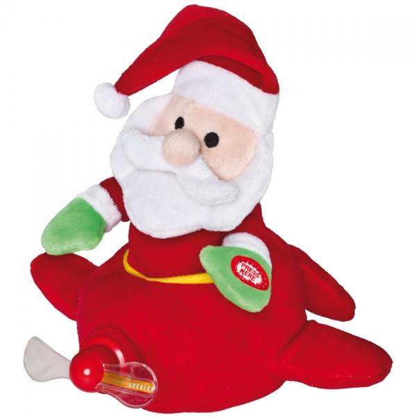Weihnachtsmann im Flugzeug, H 22cm, mit Bewegung und Musik