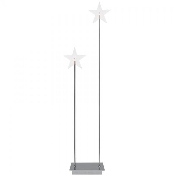 Weihnachtsleuchter, KARLA DUO, Chrom, H 72cm, 2 warmweiße LEDs