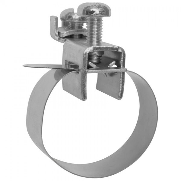 V2A-Banderdungsschelle, montiert, Anschluss verzinkt, 1 x 2,5² bis 2 x 16²-1/8 Zoll bis 3/8 Zoll