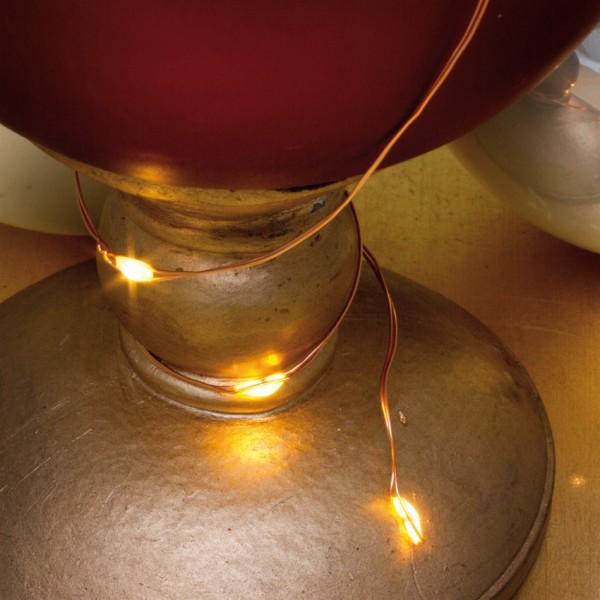 LED-Minilichterkette, Kupferdraht, L 110cm, 10 warmweiße LEDs, batteriebetrieben
