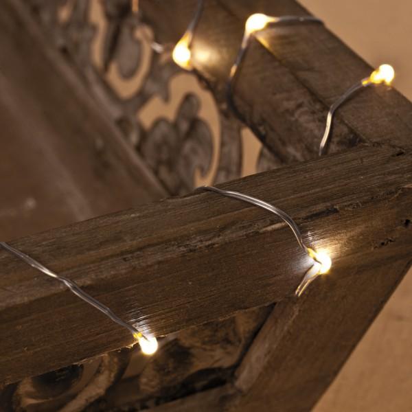 LED-Minilichterkette 1m, 20 warmweiße LEDs, batteriebetrieben