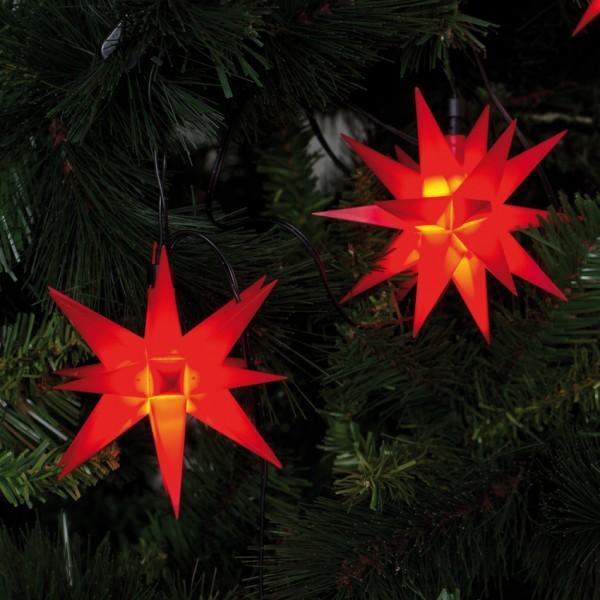 LED-Dekolichterkette, L 80cm, 9 rote Sterne, Ø 12cm