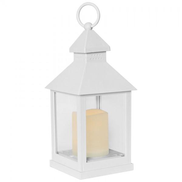 Laterne, weiß, H25cm, B 10cm, T 10cm, 1 orange flackernde LED