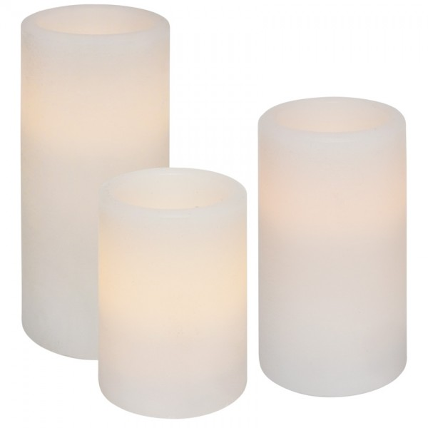 3 LED-Echtwachskerzen, je 1 LED, H 150/125/ 100, Ø 70, batteriebetrieben
