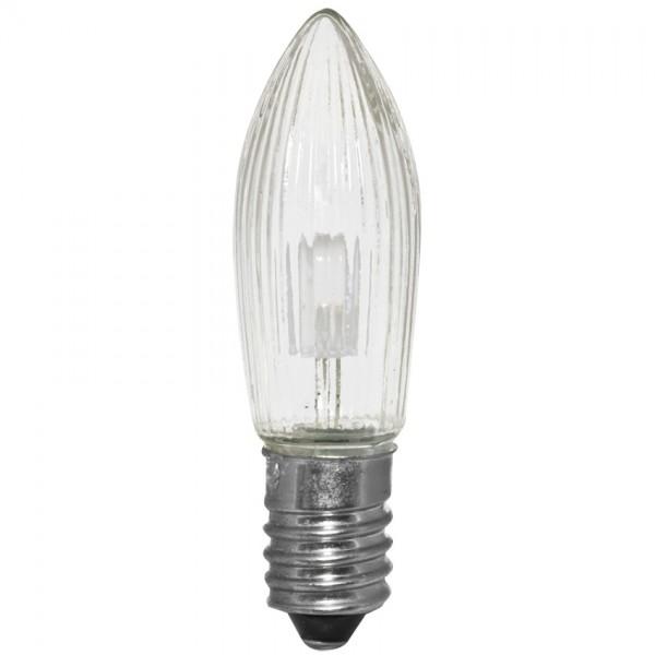 7x LED-Topkerze, klar, E10-10-55V-0,2W, warmweiß