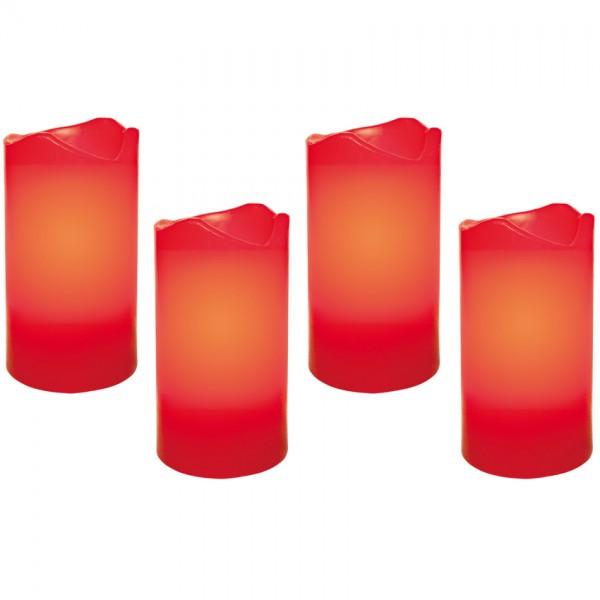 4 LED-Echtwachskerzen, je 1 LED, H 100, Ø 55, batteriebetrieben, mit Fernbedienung