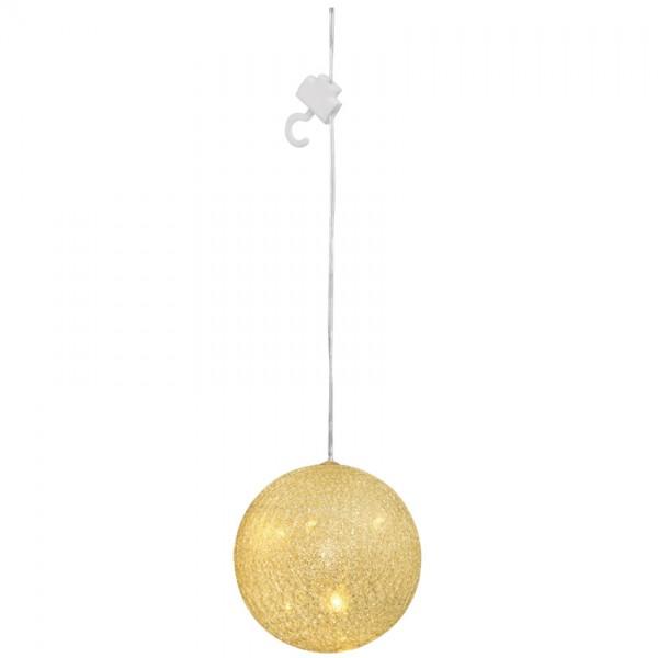 LED-Kugel, silber-weiß, 5 warmweiße LEDs, Ø 10cm