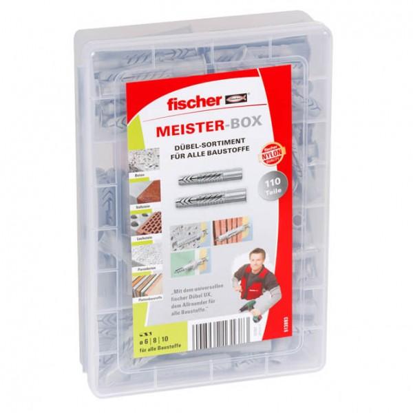 fischer® - Dübel-Sortiment, 110 Dübel UX, für alle Baustoffe, in Kunststoff-Sortierbox