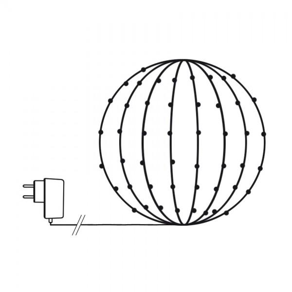 LED-Lichternetz für Buchsbaumkugeln 120cm Umfang, 144 warmweiße LEDs
