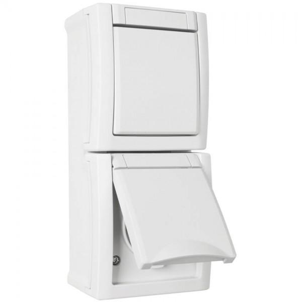 Panasonic® - AP/FR - PACIFIC - weiß - Wechsel-Schalter/Steckdose, senkrecht