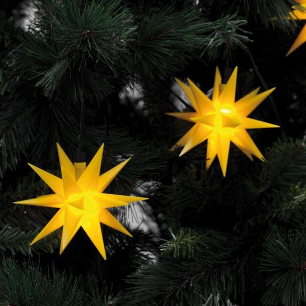 LED-Dekolichterkette, L 80cm, 9 gelbe Sterne, Ø 12cm