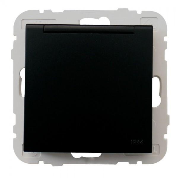 EFAPEL® - Kombi-Steckdose, mit Klappdeckel, LOGUS 90, schwarz matt