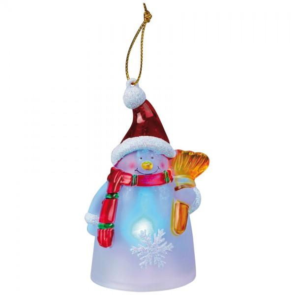 LED-Figur, Schneeman mit Besen, 1 LED, H 95, batteriebetrieben, mit Farbwechsler