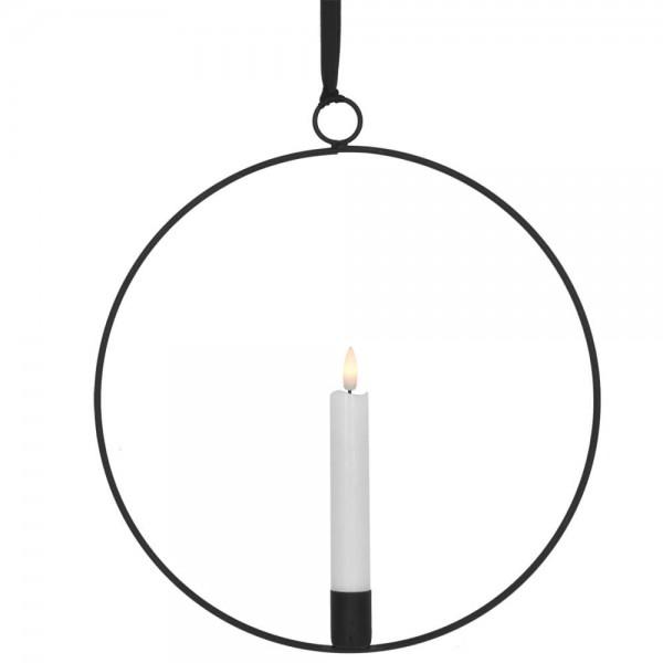 LED-Fensterbild, FLAMME RING, schwarz, 1 warmweiße flackernde LED, batteriebetrieben