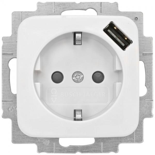 BUSCH-JAEGER® -REFLEX SI® - Kombi-Steckdose, 1 x USB-Ausgang 5V/max. 0,7A, alpinweiß