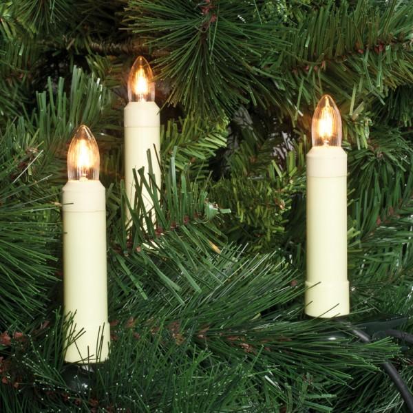 Weihnachtsbaumkette, L 12,6m, klar/weiß, 15xE10-16V-3W, mit teilbarem Stecker