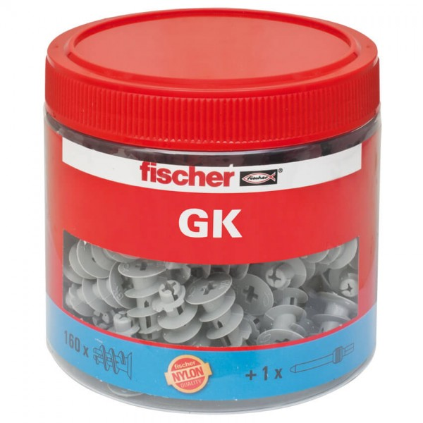 fischer® - Gipskarton-Dübel GK, mit Setzwerkzeug in Kunststoffdose, 160 Stück