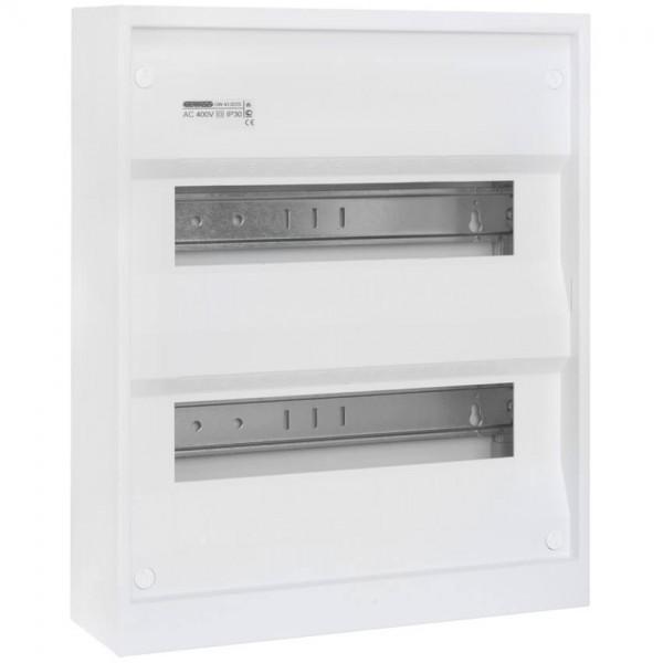 Aufputz-Kleinverteiler ohne Tür, weiß, 2-reihig für 24 Module