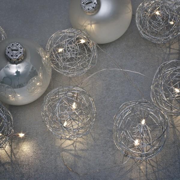 LED-Minilichterkette, 20 warmweiße LEDs Metalldrahtbälle silber