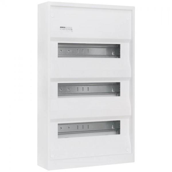 Aufputz-Kleinverteiler ohne Tür, weiß, 3-reihig für 36 Module