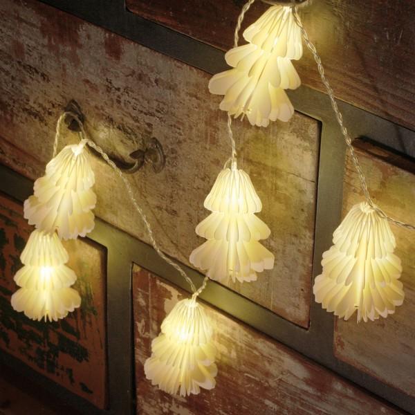LED-Minilichterkette, Papiertannenbäumchen, L 2m, 12 warmweiße LEDs