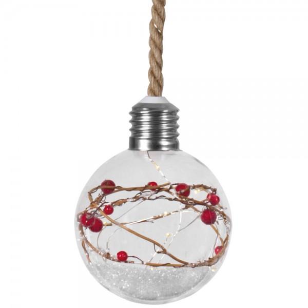 LED-Glaskugel, Ø 12cm, 15 warmweiße LEDs