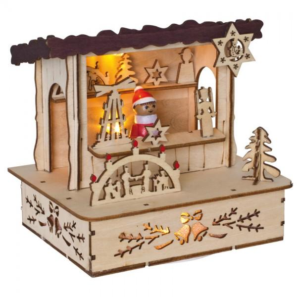 LED-Weihnachtsmarktbude, braunes Dach, 3 superwarmweiße LEDs