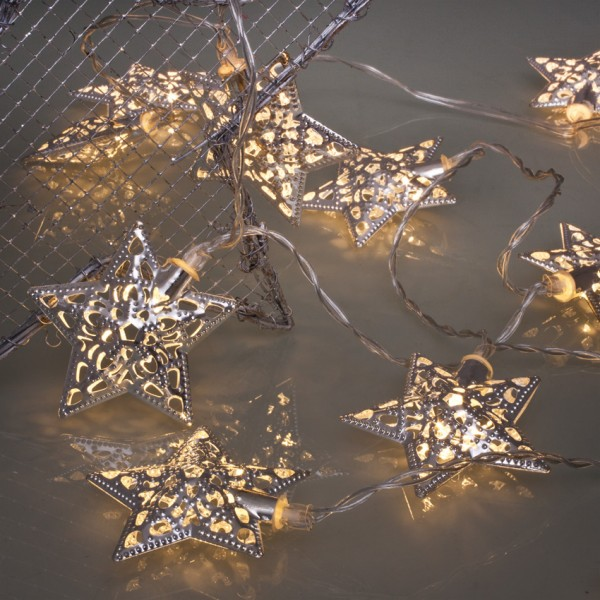 LED-Minilichterkette, 10 warmweiße LEDs, Metallsterne Silber