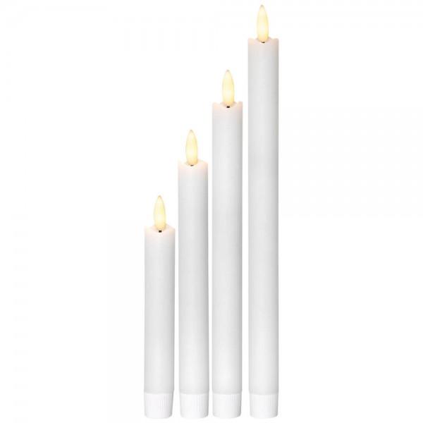 4 LED-Echtwachskerzen, je 1 flackernde, orange LED, H 28cm, 24cm, 20cm, 16cm