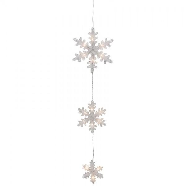 LED-Lichterstränge, Schneeflocken, Ø 20cm, 15cm, 11cm, 15 warmweiße LEDs