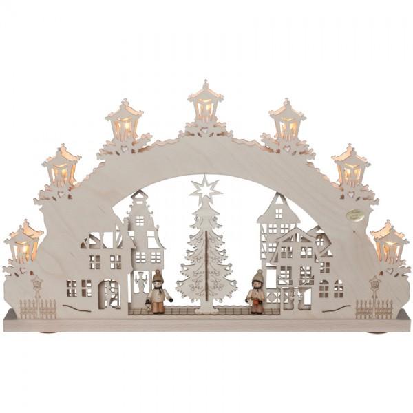Original Erzgebirge Weihnachtsleuchter,Weihnachtsmarkt, 7 x E10/34V/3W