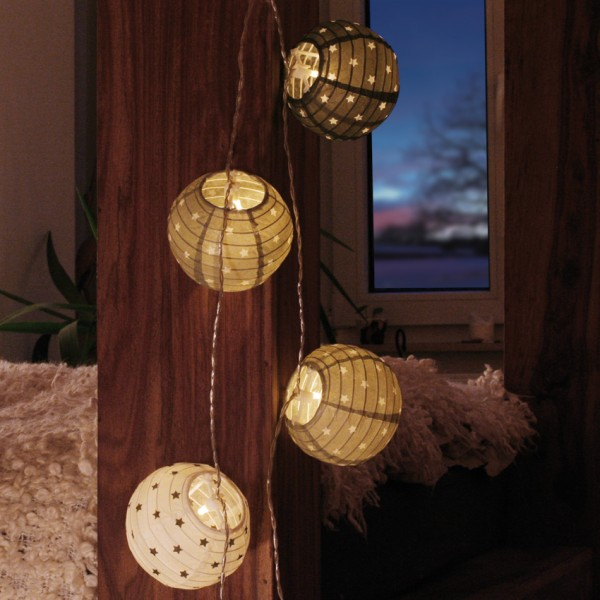 LED-Minilichterkette, 10 warmweiße LEDs, Papierkugeln weiß/grau/ schwarz